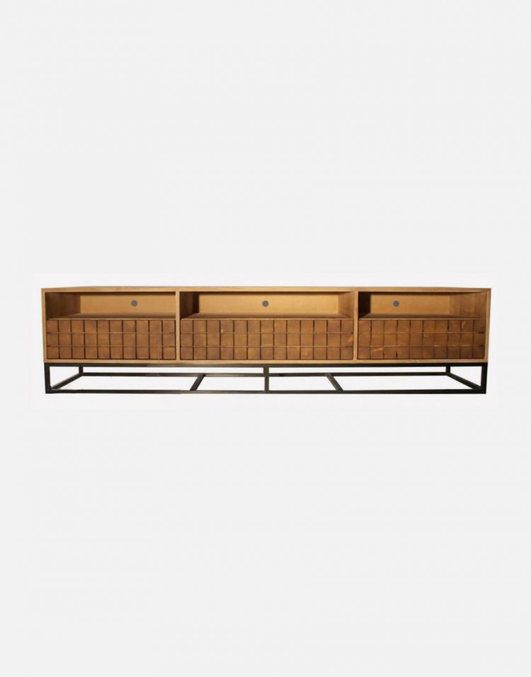 voodoohome wooden tv table code VW106 4 750x957 - میز تلویزیون چوب طبیعی با پایه فلزی مشکی کد VW106