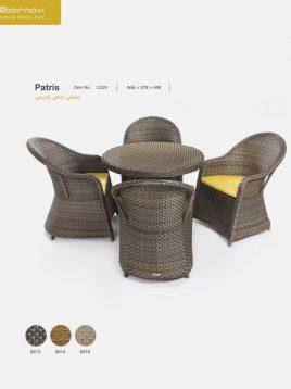 ست میز و صندلی راحتی حصیری بورنووی مدل پاتریس