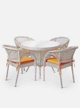 ست میز و صندلی حصیری بورنووی بافت ستاره مدل سولار