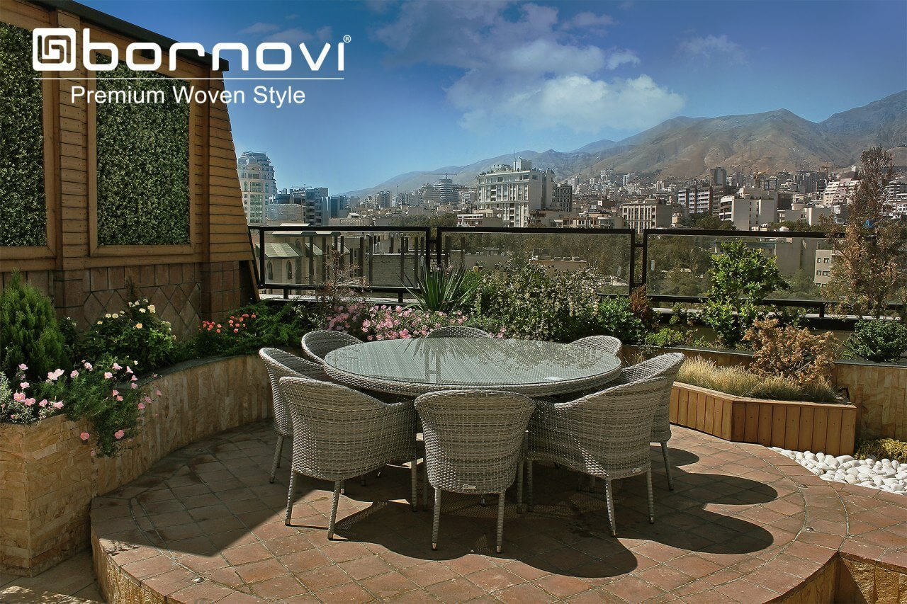 bornovi foursome set woven chair table model torino 00 - ست میز و صندلی حصیری بورنووی مدل تورینو -  - patio-dining-furniture
