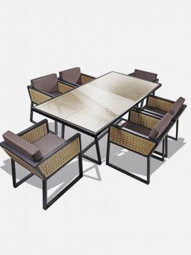 ست میز و صندلی حصیری بورنووی شش نفره مدل رویان
