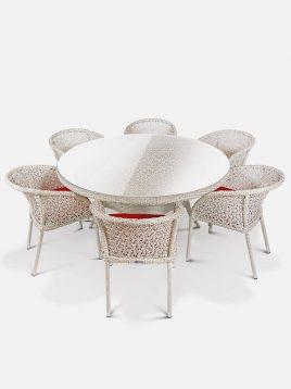 ست میز و صندلی حصیری بورنووی بافت ستاره ای مدل استار
