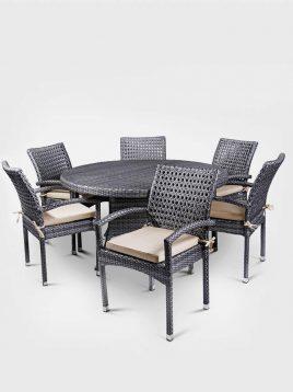 ست میز صندلی حصیری بورنووی شش نفره مدل روما