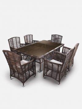 ست میز صندلی حصیری بورنووی شش نفره مدل بالی