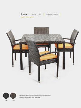 صندلی دسته دار حصیری بورنووی مدل لیما