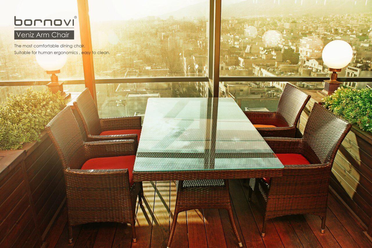 bornovi woven rectangular table code13 00 - میز حصیری مستطیلی فضای باز بورنووی -  - patio-dining-tables