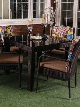 ست میز صندلی حصیری فضای باز کوهبر مدل ۱۰۲