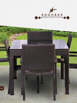 ست میز صندلی حصیری فضای باز کوهبر مدل ۱۳۴