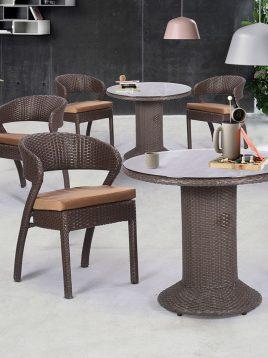 ست میز صندلی حصیری فضای باز کوهبر مدل ۱۶۳