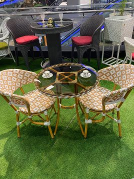 ست میز صندلی حصیری فضای باز کوهبر مدل راگ ۲۰۵