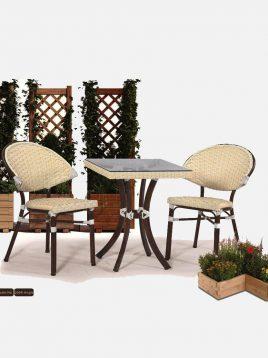 ست میز صندلی حصیری فضای باز کوهبر مدل ۲۰۶r