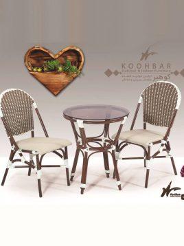 ست میز صندلی حصیری فضای باز کوهبر مدل ۲۱۹