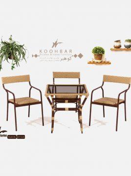 ست میز صندلی حصیری فضای باز کوهبر مدل ۲۲۳