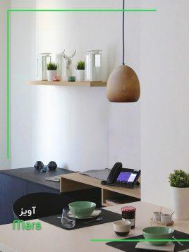 چراغ آویز چوبی مدل مارس