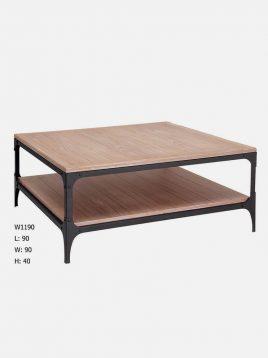 sunhome Rustic wooden coffee table square1 268x358 - میز جلو مبلی چوبی روستیک مربع سان هوم