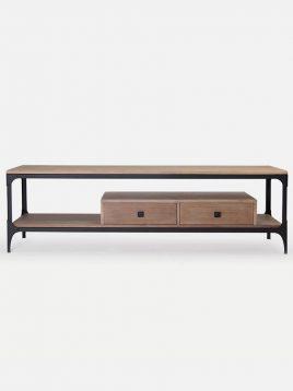 میز تلویزیون دو کشو چوبی روستیک کد H1116