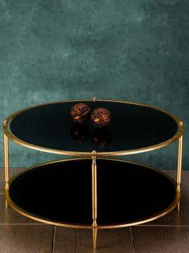 میز جلو مبلی گرد دو طبقه  مدل سنگ و آینه H