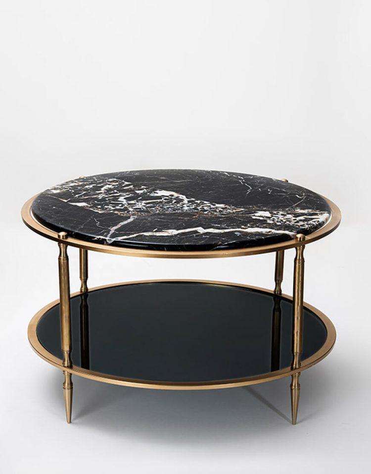 میز جلو مبلی گرد دو طبقه سان هوم مدل سنگ و آینه