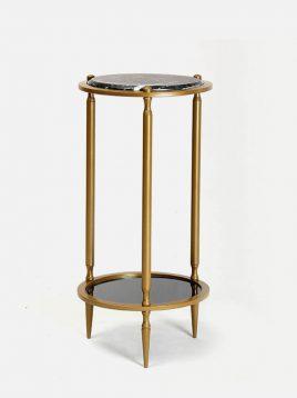 میز کنار مبلی گرد دو طبقه  مدل سنگ و آینه H