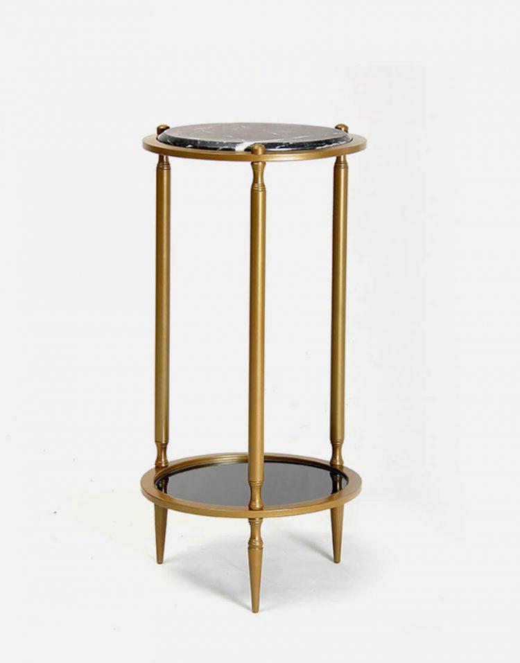 میز کنار مبلی گرد دو طبقه سان هوم مدل سنگ و آینه