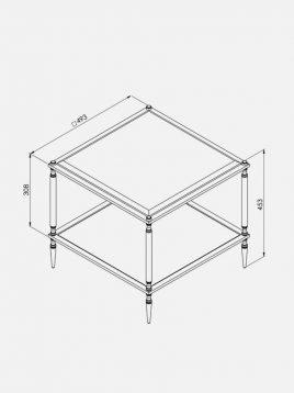میز جلو مبلی مربعی  آینه ای H