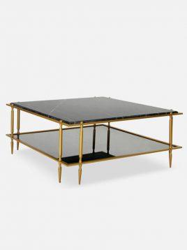 میز جلو مبلی مربعی دو طبقه سان هوم مدل سنگ و آینه