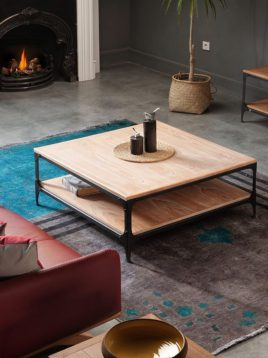میز جلو مبلی چوبی روستیک مربع H