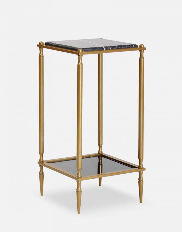میز کنار مبلی مربعی دو طبقه سان هوم مدل سنگ و آینه