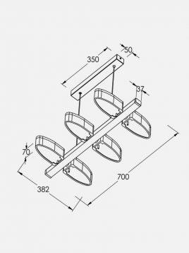 چراغ آویز قابل تنظیم چوبی ال ای دی سان هوم کد w0116