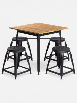 ست چهار نفره میز چوبی و صندلی رستورانی نهالسان کد ۱۲۰