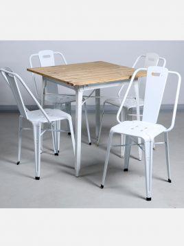 ست چهار نفره میز چوبی و صندلی رستورانی نهالسان کد ۲۳۰