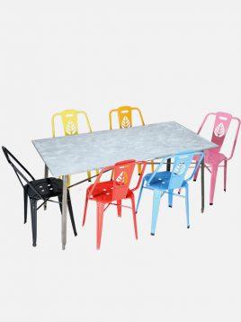 ست شش نفره میز و صندلی رستورانی نهالسان کد ۷۲۰