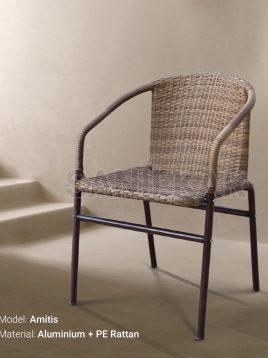 صندلی دسته دار آلومینیومی و حصیری صنیع کار مدل آمیتیس
