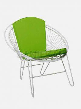 صندلی فضای باز گرد فلزی صنیع کار مدل شعاعی مفتولی