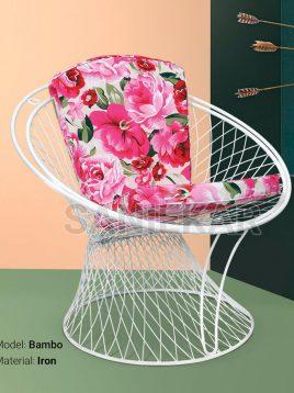 صندلی فضای باز گرد فلزی صنیع کار مدل بامبو