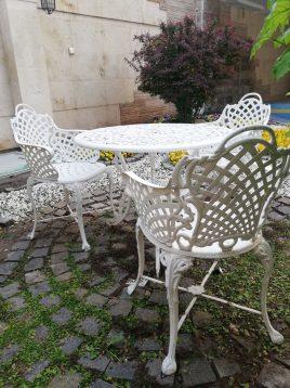 ست میز و صندلی آهنی فضای باز صنیع کار مدل حصیری