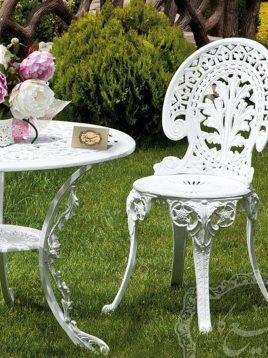 ست میز و صندلی آهنی فضای باز صنیع کار مدل طاووسی