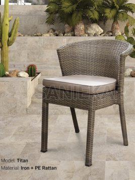 صندلی فضای باز حصیری صنیع کار مدل تایتان