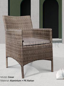 صندلی دسته دار حصیری صنیع کار مدل سزار