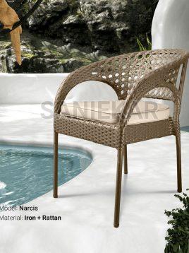 صندلی دسته دار حصیری صنیع کار مدل نارسیس