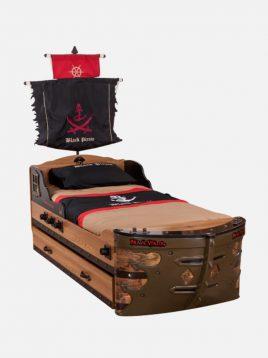 تخت تک نفره چوبی قهوه ای آپادانا طرح کشتی