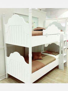 تخت دو طبقه چوبی سفید آپادانا مدل پالی