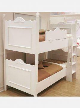 تخت دو طبقه چوبی سفید آپادانا مدل کویین