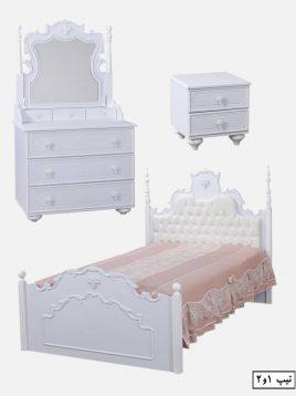 سرویس خواب چوبی سفید آپادانا مدل روژین