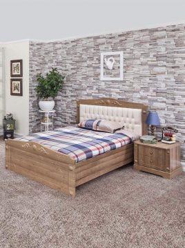 تخت چوبی قهوه ای تک نفره آپادانا مدل کینگ