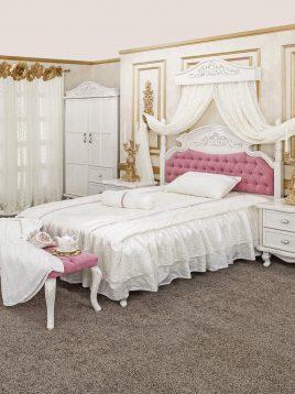 تخت چوبی سفید دو نفره آپادانا مدل آرکانا