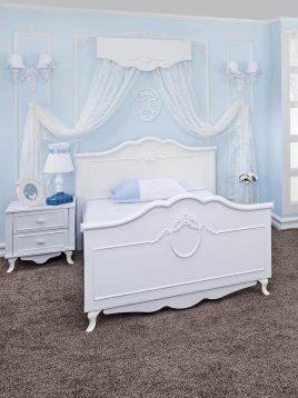 تخت چوبی سفید دو نفره آپادانا مدل گلوریا