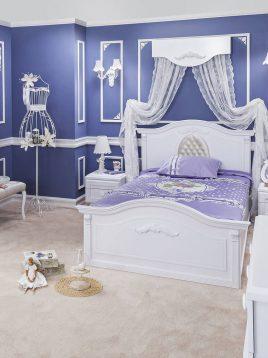 تخت چوبی سفید دو نفره آپادانا مدل کلاسیک سیلور