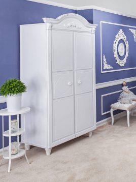 کمد چوبی سفید آپادانا مدل کلاسیک سیلور