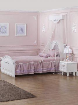 تخت چوبی سفید تک نفره آپادانا مدل کلاسیک سیلور